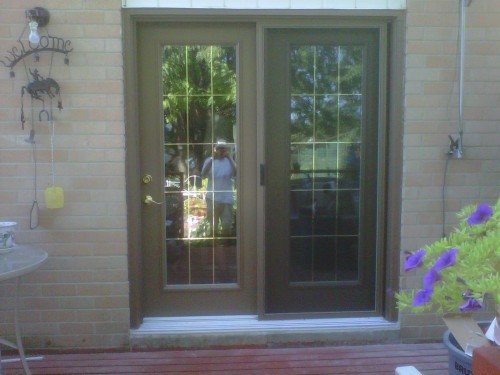 double brown garden doors