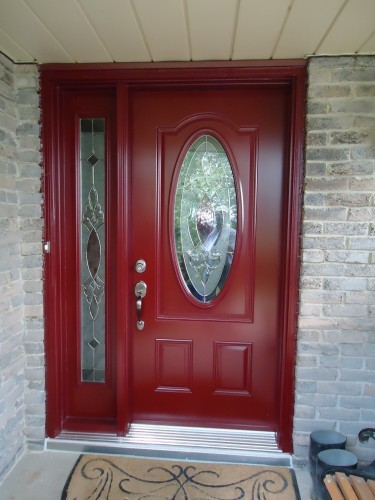 red steel entry door