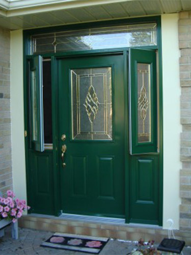 bright green steel door