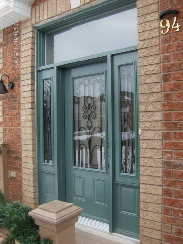 green steel entry door